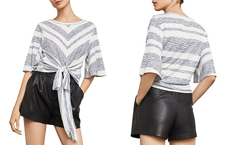 BCBGMAXAZRIA Striped Tie-Front Cropped Top - Bloomingdale's_2