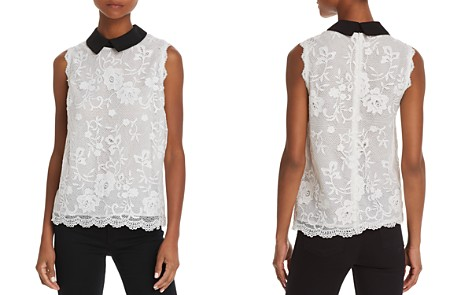 AQUA Collared Sleeveless Lace Top - 100% Exclusive - Bloomingdale's_2
