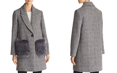 KENDALL and KYLIE Houndstooth Faux Fur Pocket Coat - Bloomingdale's_2