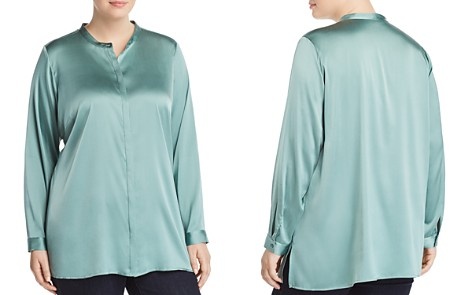 Eileen Fisher Plus Stand Collar Blouse - Bloomingdale's_2