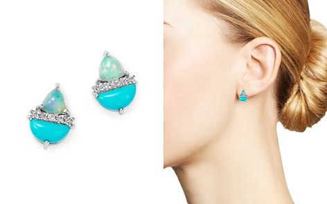 Bloomingdale's Diamond, Stabilized Turquoise & Opal Stud Earrings in 14K White Gold - 100% Exclusive_2