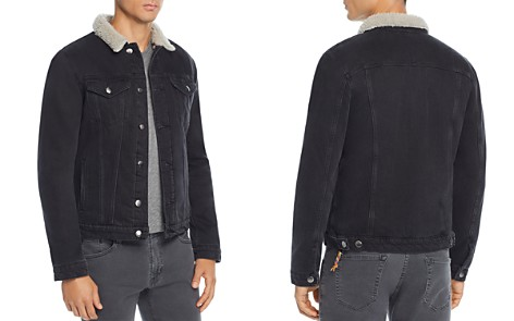 FRAME L'Homme Faux Shearling-Trimmed Denim Trucker Jacket - Bloomingdale's_2