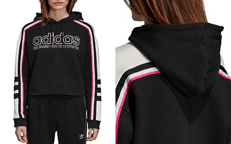 Adidas Striped Cropped Hooded Sweatshirt - Bloomingdale's_2