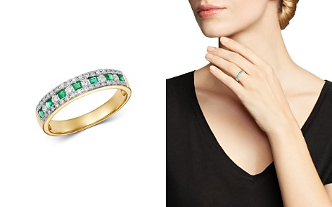 Bloomingdale's Emerald & Diamond Single Band Ring in 14K Yellow Gold - 100% Exclusive_2