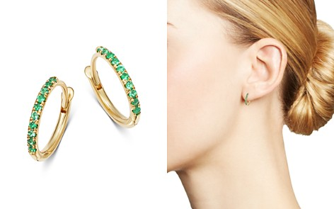 Zoë Chicco 14K Yellow Gold Emerald Huggie Hoop Earrings - Bloomingdale's_2