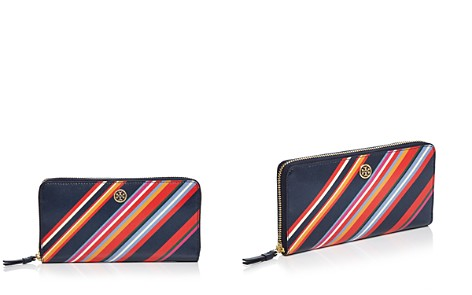 Tory Burch Robinson Striped Zip Leather Continental Wallet - Bloomingdale's_2