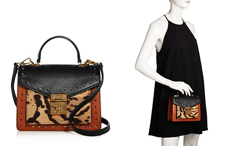 MCM Patricia Small Leather & Leopard Print Calf Hair Satchel - Bloomingdale's_2