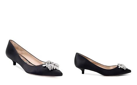 Badgley Mischka Women's Vail Pointed Toe Satin Kitten Heel Pumps - Bloomingdale's_2