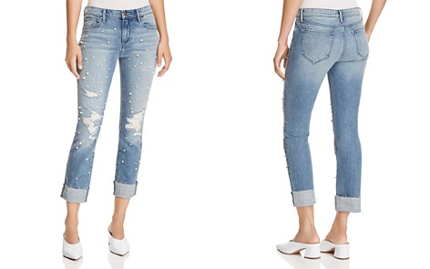 AQUA Embellished Distressed Straight-Leg Jeans in Light Wash - 100% Exclusive - Bloomingdale's_2