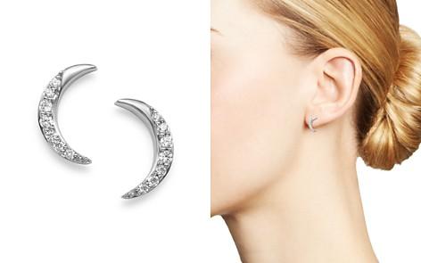 Bloomingdale's Diamond Moon Stud Earrings in 14K White Gold, 0.10 ct. t.w. - 100% Exclusive_2