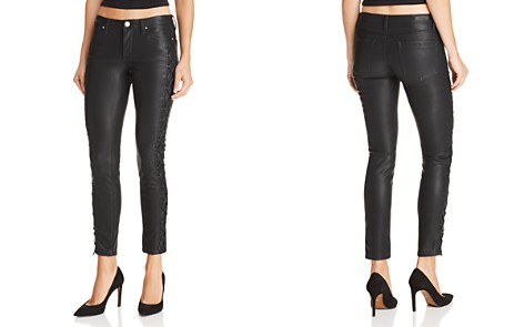 BLANKNYC Lace-Up Faux Leather Skinny Jeans in Risque - Bloomingdale's_2