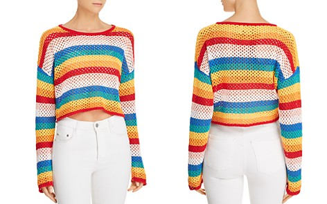 Honey Punch Rainbow-Stripe Cropped Crochet Sweater - Bloomingdale's_2