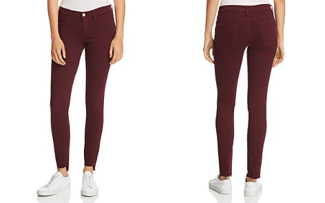 FRAME Le Skinny De Jeanne Raw-Edge Stagger Jeans in Pinot - Bloomingdale's_2