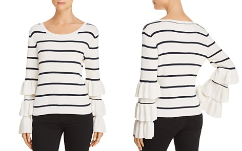 CHASER Ruffle-Sleeve Striped Sweater - Bloomingdale's_2