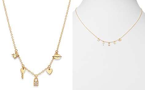 "Zoë Chicco 14K Yellow Gold Itty Bitty Dangling Charms Pavé Diamond Adjustable Necklace, 18"" - Bloomingdale's_2"