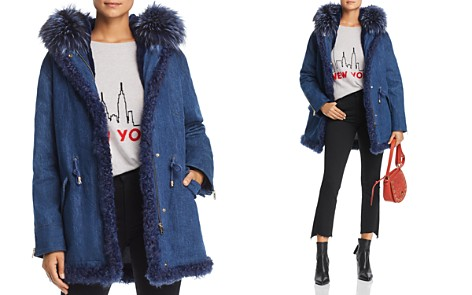 Maximilian Furs Rabbit Fur-Lined Denim Parka with Fox & Kalgam Lamb Shearling Trim - 100% Exclusive - Bloomingdale's_2