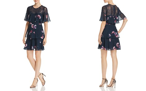 BCBGMAXAZRIA Lace Trim Tiered Floral Chiffon Dress - Bloomingdale's_2