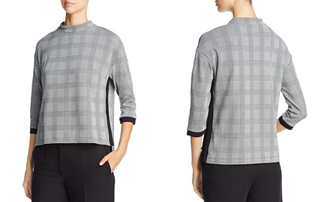 Three Dots Glen Plaid Mock Neck Top - Bloomingdale's_2