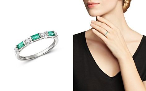 Bloomingdale's Diamond & Emerald Stacking Ring in 14K White Gold - 100% Exclusive_2