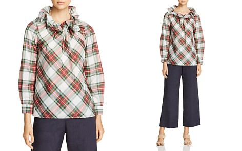 Weekend Max Mara Dovere Ruffled Plaid Top - 100% Exclusive - Bloomingdale's_2