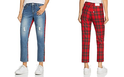 SJYP Check Mix Straight Jeans in Red - Bloomingdale's_2