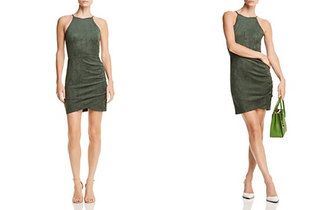 AQUA Ruched Faux Suede Dress - 100% Exclusive - Bloomingdale's_2