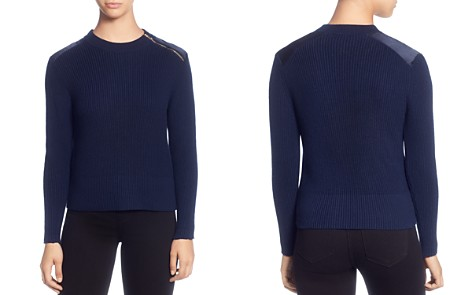 T Tahari Ribbed Shoulder-Zip Sweater - Bloomingdale's_2
