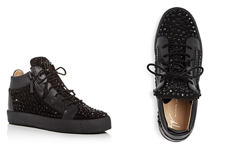 Giuseppe Zanotti Men's Crystal Stud Suede Mid Top Sneakers - Bloomingdale's_2