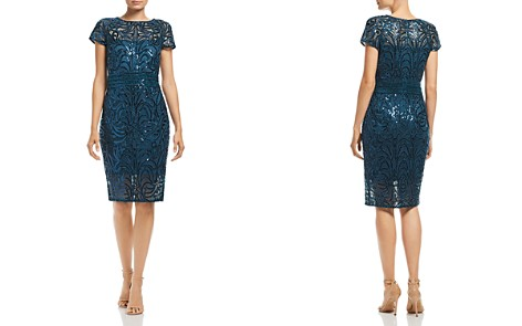 Tadashi Petites Sequin Embroidered Cap-Sleeve Dress - Bloomingdale's_2