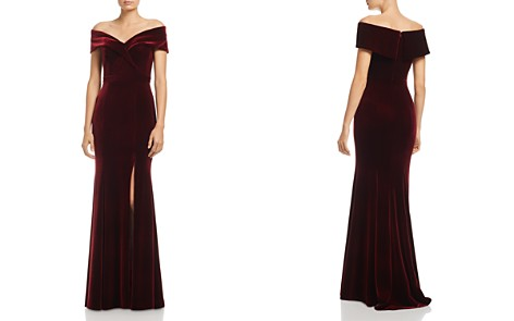 AQUA Off-the-Shoulder Fluted Velvet Gown - 100% Exclusive - Bloomingdale's_2