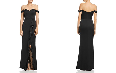 Bariano Edie Satin Ruffle Front Gown - Bloomingdale's_2