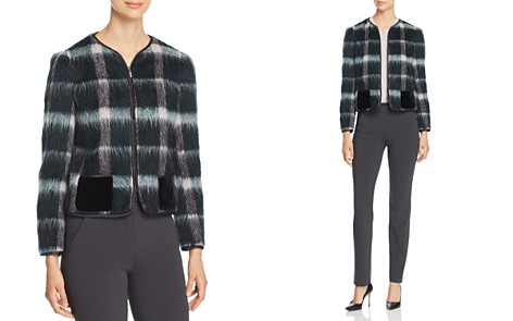 Emporio Armani Fur-Effect Wool-Blend Plaid Jacket - Bloomingdale's_2