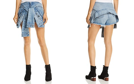 T by Alexander Wang Layered-Look Tie-Front Shorts - Bloomingdale's_2