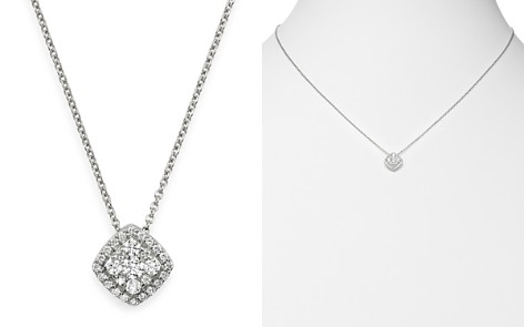 Bloomingdale's Diamond Side Square Halo Pendant Necklace in 14K White Gold, 0.3 ct. t.w. - 100% Exclusive_2