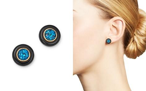 Bloomingdale's London Blue Topaz & Black Onyx Stud Earrings in 14K Yellow Gold - 100% Exclusive _2