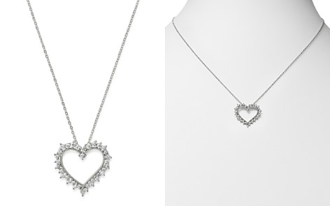 Bloomingdale's Diamond Heart Pendant Necklace in 14K White Gold, 0.50 ct. t.w. - 100% Exclusive_2