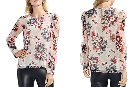 VINCE CAMUTO Petites Timeless Blooms Puff Shoulder Top - Bloomingdale's_2