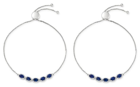 Bloomingdale's Blue Sapphire & Diamond Bolo Bracelet in 14K White Gold - 100% Exclusive_2