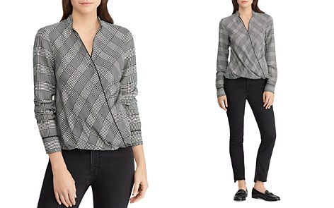 Lauren Ralph Lauren Checked Faux-Wrap Top - Bloomingdale's_2