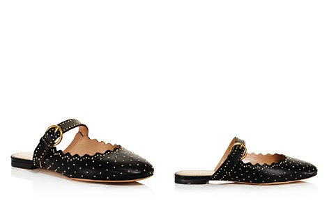 Chloé Women's Lauren Round Toe Studded Leather Ballerina Flats - Bloomingdale's_2