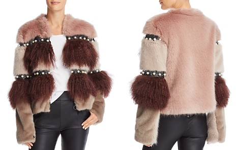 Urbancode Embellished Color-Blocked Fur Coat - Bloomingdale's_2
