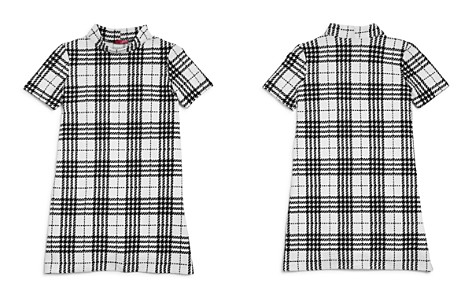 AQUA Girls' Textured Plaid Shift Dress, Big Kid - 100% Exclusive - Bloomingdale's_2