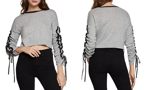 BCBGeneration Ruffle-Sleeve Cropped Sweater - Bloomingdale's_2