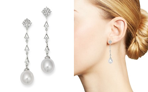 Bloomingdale's Diamond & Cultured Freshwater Pearl Drop Earrings in 14K White Gold - 100% Exclusive _2