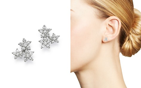 Bloomingdale's Diamond Flower Cluster Stud Earring in 14K White Gold, 0.50 ct. t.w. - 100% Exclusive_2