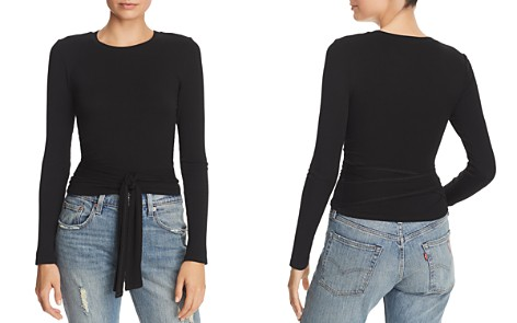 AQUA Tie-Front Rib-Knit Cropped Top - 100% Exclusive - Bloomingdale's_2