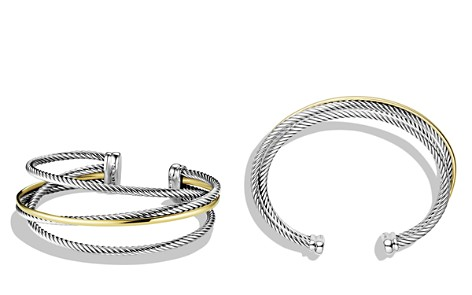 David Yurman Crossover Three-Row Cuff with Gold - Bloomingdale's_2