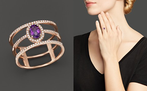 Amethyst and Diamond Geometric Ring in 14K Rose Gold - 100% Exclusive - Bloomingdale's_2