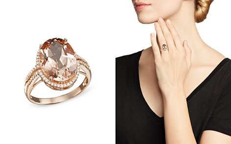 Morganite and Diamond Oval Statement Ring in 14K Rose Gold - 100% Exclusive - Bloomingdale's_2