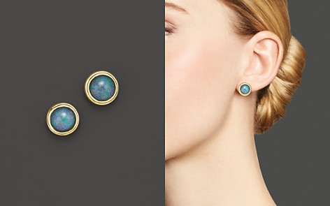 Black Opal Bezel Set Stud Earrings in 14K Yellow Gold - 100% Exclusive - Bloomingdale's_2